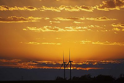 Wind farm in dusk.